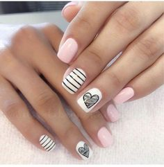 Where can we find cheap and beautiful nails? It's not acrylic nails. This beautiful nails of almond nails are valentines nails, heart nail designs and heart tip nails. Korean girls love these 20 + nails designs, even at home can do it by themselves. Stylish Nails, Trendy Nails, Elegant Nails, Casual Nails, Short Nail Designs, Nail Art Designs, Nails Design, Nail Design For Short Nails, Cute Simple Nail Designs
