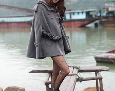grey cape Wool Cape Cashmere coat double by colorstore2011 on Etsy, $49.99