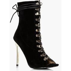 Boohoo Evie Peeptoe Gold Heel Lace Up Shoe Boot ($60) ❤ liked on Polyvore featuring shoes, boots, ankle booties, black, black lace up booties, peep toe booties, lace up booties, black platform boots and peep-toe booties