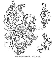 Draw Flower Patterns Set of Mehndi flower pattern for Henna drawing and tattoo. Decoration in ethnic oriental, Indian style. Mandala Tattoo Design, Mandala Arm Tattoo, Tattoo Henna, Henna Tattoo Designs, Henna Art, Mehndi Designs, Henna Flower Designs, Mehndi Drawing, Henna Drawings