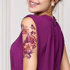 babe1727c TAFLT Purple Flower and Butterfly Fake Tattoos Look Real Waterproof Arm Temporary  Tattoos for Women 5 Sheets * Read more details by clicking on the image.