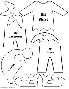 Elf clothes and parts template #navidadchristmas