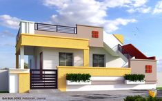 The front elevation of a home plan is a straight-on view of the house as if you were looking at it from a perfectly centered spot on the same plane as the ho. Building Elevation, House Elevation, House Front Design, Modern House Design, Modern Houses, Facade Design, Door Design, Beautiful Small Homes, Front Elevation Designs