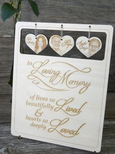 Looking for a unique wood memorial sign for your memorial photo table or reserved chair at your rustic wedding instead of a memorial candle?