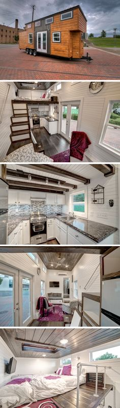 The Freedom, a 304 sq ft tiny house on wheels. My favorite part is the bathroom being on the other side of the house from the kitchen and the layout details of the bathroom. My color scheme. My fav tiny house design. Tyni House, Tiny House Living, House Bath, Tiny House Movement, Tiny House Plans, Tiny House On Wheels, Casa Loft, Casas Containers, Tiny House Nation
