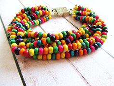 Pulsera de Cuentas de Madera Multicolor Amistad Friendship