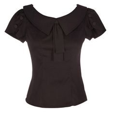 This black retro style fitted blouse with an oversize collar and bow detail is perfect to be teamed with a pencil skirt or trousers to bring your rockabilly style to the workplace!   Turn Inside Out, Machine Wash Cold, Line Dry, Cool Iron, Do Not Iron Decoration  Main Fabric - 97% Cotton 3% Spandex. Contrast - 82% Polyester 15% Viscose 3% Spandex