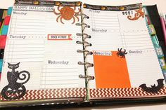 Craft Room Secrets: Filofax design page week 10/15 Halloween theme planner pages
