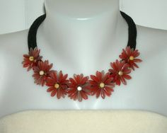 Coral Color Beaded Flower Choker Necklace