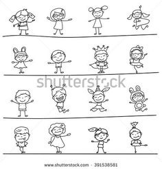 Set of blank Hand drawing cartoon happy kids playing with joyful, for practicing coloring