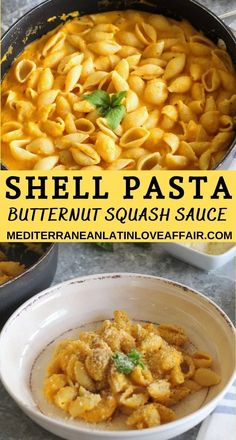 Butternut squash sauce and shell pasta make for a perfect Fall family meal!! Garnish with basil and top off this comforting meal with plenty of parmesan cheese. The creamy sauce is mouthwatering and you'll definitely want seconds. #shellpasta, #butternutsquashsauce, #mediterraneanlatinloveaffair, #familydish, #dinner, #meatlessmondays