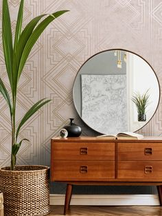 This stylish Delano Geo wallpaper will make a great statement in your home. The design features a matte backdrop in beautiful blush pink tones, with both smooth and softly textured sections creating a natural organic feel. This is overlaid with an Art Deco style geometric pattern with a contrasting metallic rose gold finish. Easy to apply, this high quality wallpaper would look great as a feature wall or equally good when used to decorate a whole room. Geometric Wallpaper Metallic, Geo Wallpaper, Textured Wallpaper, Interior Styling, Interior Design, Rose Gold Pink, Blush Pink, Grey Roses, High Quality Wallpapers