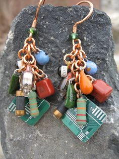 Upcycled Electronic Earrings by nikibut2002 - This would be an Awesome - E-Waste Art Contest Entry-  http://blog.ewasterecyclersofcolorado.com/art-contest/