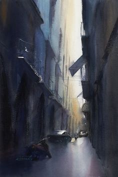 Napoli, Italy V by Keiko Tanabe Watercolor ~ 21 x 14 inches (53 x 36 cm) #watercolor jd