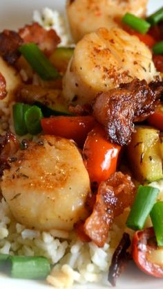 Unwrapped Bacon Scallops...serve over rice for a delicious meal.