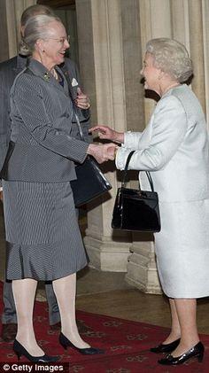 Queen Margrethe of the Kingdom of Denmark (Northern Europe) greets the British monarch, Queen Elizabeth II