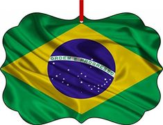 Brazil Flag-Benelux Aluminum Christmas Ornament with a Red Satin Ribbon/Holiday Hanging Tree Ornament/Double-Sided Decoration/Great Unisex Holiday Gift! *** New offers awaiting you  : Christmas Home Decor