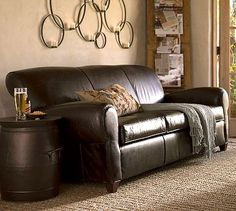 Manhattan Leather Sofa in Hazelnut