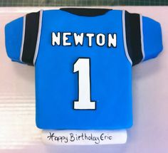 A Carolina Panthers jersey cake. Football Sugar Cookies, Football Cakes, Boy Birthday, Birthday Cakes, Birthday Ideas, Birthday Parties, Carolina Panthers Cake, Sports Themed Cakes, Bakery Cakes