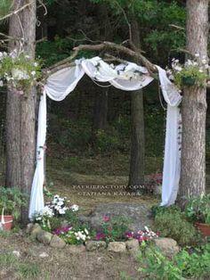 outdoor wedding...sticks & branches w/fabric arbor...faerie portal~