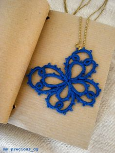 Tatted lace butterfly pendant//Tatted by MypreciousCG on Etsy