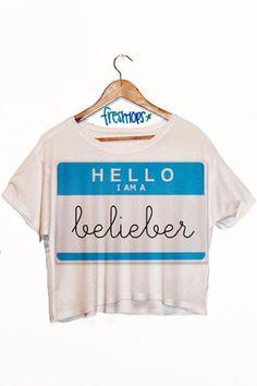 Hello My name is Belieber Crop Shirt