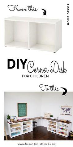 IKEA HACK: Use BESTA frames to create a corner desk that's perfect for a Montessori-inspired homeschool space. kids corner IKEA HACK: Create a Corner Desktop for Kids Using Besta Shelves