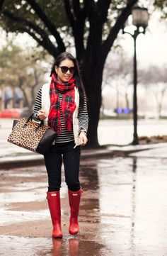 cute & little blog | petite fashion | black white striped turtleneck, white puffer quilted excursion vest, black jeans, red plaid scarf, red hunter boots, clare v sandrine satchel outfit