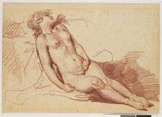 Jeune femme nue étendue, dormant (Etude pour la Danaé) Greuze Jean-Baptiste (1725-1805) , peintre