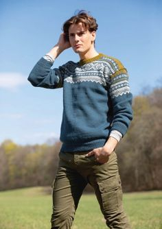 Ravelry: Nr 16 Marius pattern by Sandnes Garn Nordic Sweater, Men Sweater, Big Knits, Men's Knits, Jumper Knitting Pattern, Fair Isle Knitting, Mens Jumpers, Sweater Design, Knit Patterns