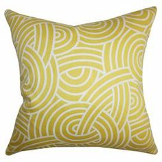 "Made in Boston, Massachusetts, this lovely cotton pillow showcases a geometric motif and feather-down insert.   Product: PillowConstruction Material: Cotton and 95/5 down fillColor: DaffodilFeatures:  Insert includedHidden zipper closureMade in the USA Dimensions: 18"" x 18"""