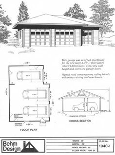 Hipped Roof Three Car Garage Plan 1040-1 by Behm Design