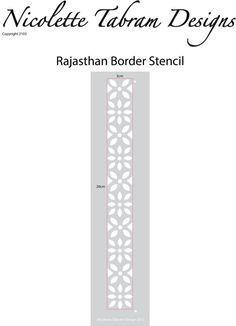 Pochoir bordure de Rajasthan ce pochoir bordure simple peut être utilisé sur les meubles, tissu et des murs. Cest la taille parfaite pour appliquer des bordures sur les dessus des armoires et des pieds de table, ce qui le rend parfait pour vos propres projets de meubles produits issus du recyclage.  Dimensions conception 3 x 26 cm  GRATUIT mini Triangle frontalier pochoir avec chaque gabarit de frontière du Rajasthan  Les pochoirs sont réutilisables et très facile à utiliser. Ils peuvent…