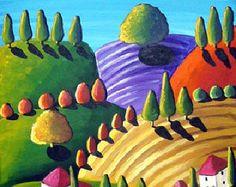 D'oro paesaggio toscano arte popolare di reniebritenbucher su Etsy