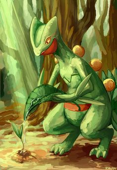 It's Sceptile, the final evolution form of Treecko. Pokemon Go, Pokemon Fusion, Grass Type Pokemon, First Pokemon, Pokemon Pins, Pokemon Images, Pokemon Fan Art, Pokemon Pictures, Cute Pokemon