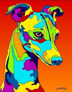 Multi-Color Italian Greyhound Dog Breed Matted Prints & Canvas Giclées