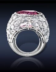 16.72 Ct Natural Pink Spinel (Center Stone) surrounded by 12.72 Ct. Rose Cut Diamonds mounted on platinum - Jacob & Co.