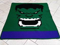 Crochet - Hulk Blanket - SC graph, double yarn throughout pattern (approx. 120 x 150)