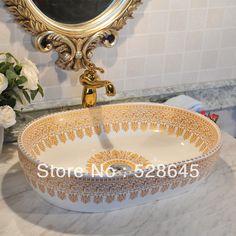 Plus size oval basin wash basin counter basin gold color decorative pattern $170.06