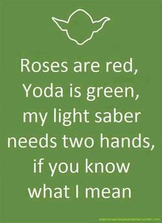 Roses are red , Yoda is green... LOL I don't have my own light saber being a chick... but if I could work this into a 'what I want' section of a dating advert, I'd be golden!