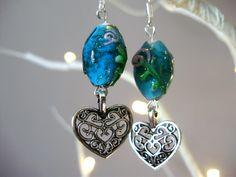 Glass heart earrings, Beaded earrings, lattice heart, glass earrings, lamp work…