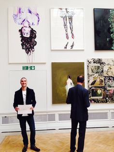 Sait Mingu with his Hugh Casson Drawing Award at Royal Academy Of Arts and his paintings :) #saitmingu