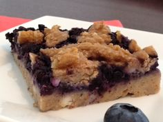 Blueberry Squares ; My First Recipe Redux Calories: 110.2, Protein: 11.2g, Carbs: 12.5g, Fat: 2.7g (1g Saturated), Sodium: 154mg, Fiber: 4g (Net Carbs: 8.5g)