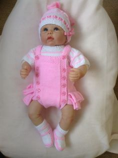 Month Baby Vintage Style Romper Oufit in Pink and White or will fit a 22 inch Reborn Baby Doll Ready to Ship Now by on Etsy Baby Girl Dolls, Reborn Baby Dolls, Baby Chucks, Baby Boy Overalls, Baby Girl Christmas Dresses, Baby Born Clothes, Knitting Dolls Clothes, Baby Knitting Patterns, Free Knitting