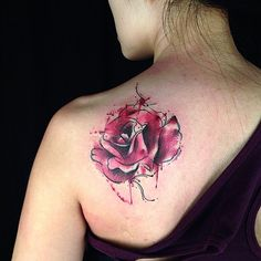 Rose Watercolor Tattoo images
