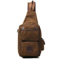 Sale 15% (24.62$) - Men Retro Canvas Deep Brown Casual Outdoor Chest Crossbody Bag