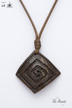 Wood Coconut Square Spiral Pendant Square by TheBeautyJewelryShop If you love fashion check us out. We're always adding new products for your closet! Homemade Necklaces, Homemade Jewelry, Leaf Crafts, Ring Crafts, Driftwood Jewelry, Wooden Jewelry, Coconut Shell Crafts, Brown Pendants, Dremel Carving