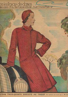 Mon Ouvrage women's needlework magazine - November 1937 winter knit coat pattern issue - French 30s vintage