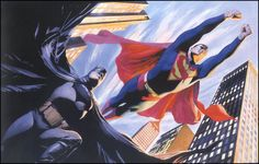 Batman and Superman, by Alex Ross. His superheroes always look the most ... heroic.