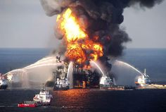 Fire boat response crews battle the blazing remnants of the Deepwater Horizon Oil Rig in the Gulf of Mexico on April 22, 2010.